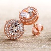 Lesa Michele Rose Gold Plated Halo Studs with Swarovski Elements