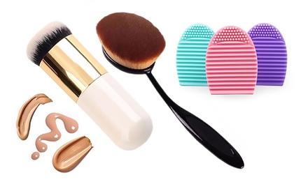 3-tlg. Make-up-Set mit Make-up-Bürste, Reinigungstool und Make-up-Pinsel