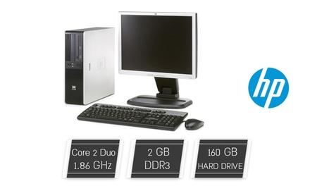 """מחשב שולחני HP עם מעבד Core 2 Duo, זיכרון 2GB, דיסק קשיח 160GB ומערכת הפעלה WIN XP Pro. כולל מסך """"17 מתנה"""