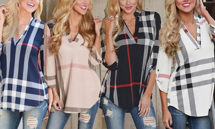 V-Neck Checked Shirt