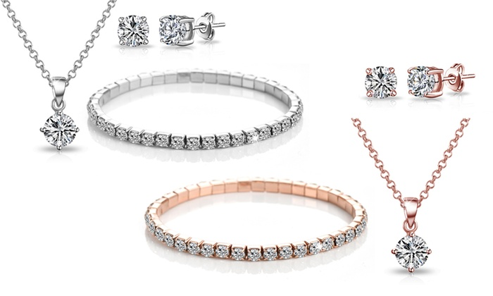 One or Two Philip Jones Three-Piece Solitaire Sets with Crystals from Swarovski® From £10