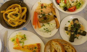 White Village greek tavern: $49 for a Traditional Eight-Course Greek Banquet with Coffee for Two People at White Village Greek Tavern ($129 Value)