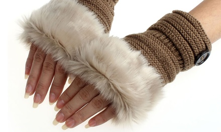 One or Two Pairs of Women's Faux Fur Fingerless Gloves