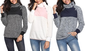 Women's Asymmetrical Snap Collar Fleece Pullover