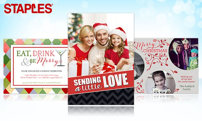 Staples - Multiple Locations: Custom Same-Day and Delivered Holiday Cards and Invitations from Staples (Up to 71% Off)