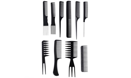 Ten-Piece Hair Styling Comb Set with Carry Case