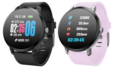 Smartwatch redondo multifunción resistente al agua