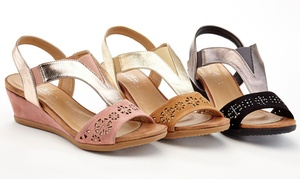 Lady Godiva Ana Women's Wedge Sandals with Rhinestones