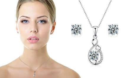 Sreema London Silver Heart Necklace with Zirconias and Earrings Set