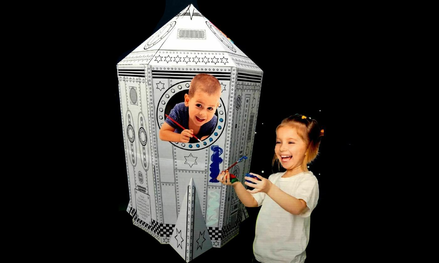 Kids Colouring-In Cardboard Rocket Ship Playhouse