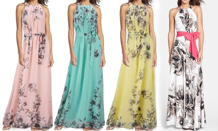 FloralPrint Chiffon Maxi Dress