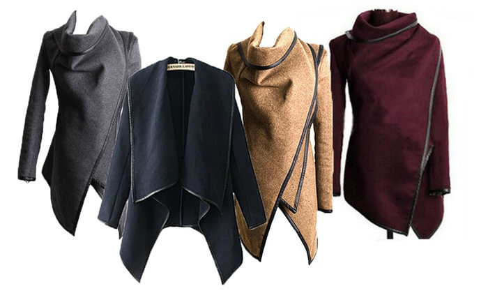 Mushaa - Merchandising (AE): Asymmetric Cowl Neck Coat in Choice of Size and Colour from AED 79 (Up to 57% Off)