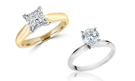 1.25 CTW Certified Round or Princess-Cut Diamond Solitaire Ring in 14K Gold