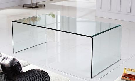 Tavolino basso da salotto o consolle in vetro curvato Luxury