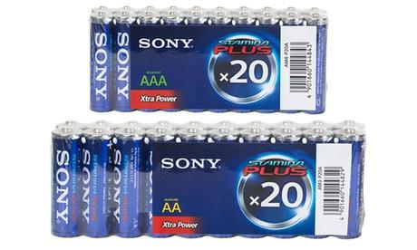 Packs de 20, 40 o 60 pilas alcalinas recargables Sony AA o AAA