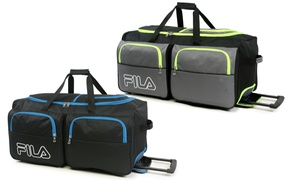FILA Large 7-Pocket Rolling Duffel Bag Luggage