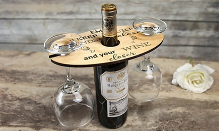 $19.95 for a Personalised Engraved Wood Wine Caddy and Glass Holder (Don't Pay $56.03)