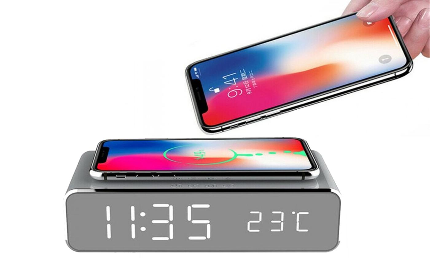 One, Two or Three Multifunctional Desktop Alarm Clock Wireless Chargers
