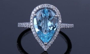 4.00 CTTW Pear Cut Blue Topaz Ring in Sterling Silver by Valencia Gems