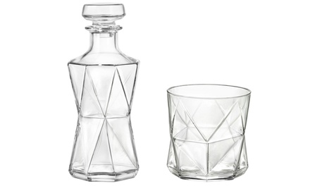 Bormioli Rocco Modern Glass Spirit Decanter with Optional Set of Six Glasses