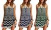 Leo Rosi Kelly Chevron and Lace Mini Dress