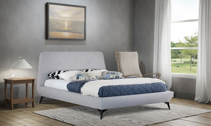 Como Fabric Bed Frame in Choice of Colour and Size with USB Ports and Optional Orthopaedic Tobe Mattress