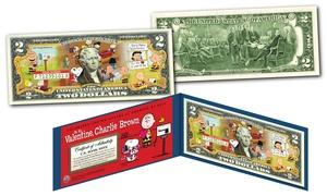 Be My Valentine, Charlie Brown Peanuts Genuine Legal Tender US $2 Bill