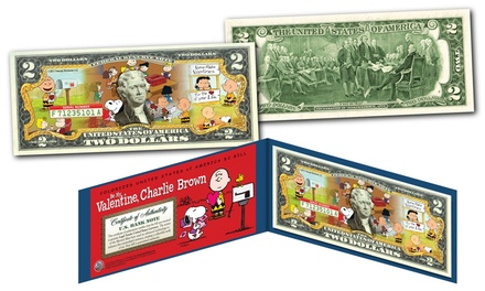 Be My Valentine, Charlie Brown Peanuts Genuine Legal Tender US $2 Bill