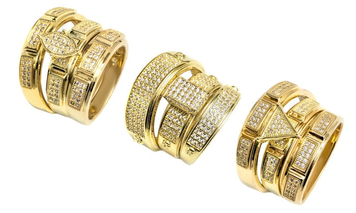 18k Gold Plated Sterling Silver Engagement Wedding Ring Set