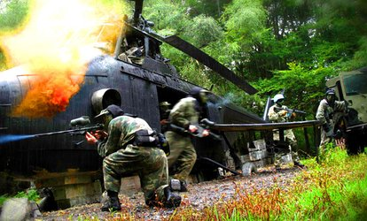 image for Full-Day Paintballing With Lunch for Up to Ten at NPF Bassetts Pole Paintball & Outdoor Activity Centre (Up to 79% Off)
