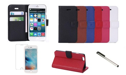 Wallet Case with Screen Protector and Stylus Touch Pen for iPhone: One $9.95 or Two $15.95