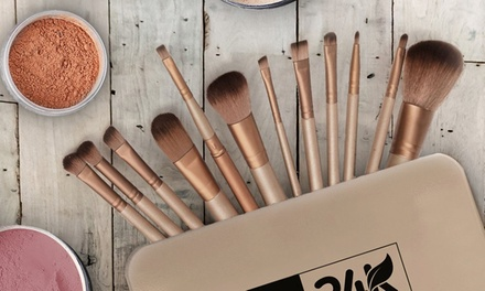 24K Makeup Brush Set with Portable Case (12-Piece)
