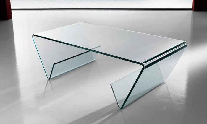Tavolino Jones in vetro curvato e vano porta riviste