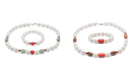 1 o 2 conjuntos de collar y pulsera de perlas de arroz de agua dulce