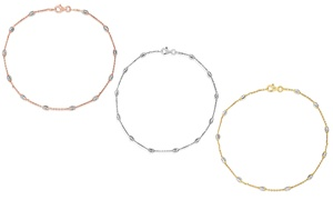 """Italian Sterling Silver 10"""" Station Anklets by Verona"""