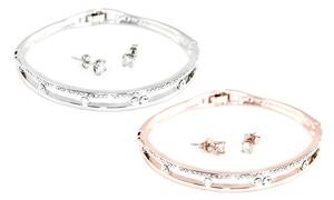 (Bijou)  Bracelet et boucles d'oreilles ornés de cristaux Swarovski® -87% réduction