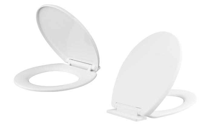 coloured soft close toilet seat.  Groupon Goods Global GmbH White Black or Aqua Coloured Soft Close Toilet Seat Seats