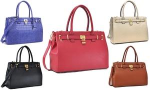 MMK Collection Vegan Leather Large Double Zipper Padlock Handbag