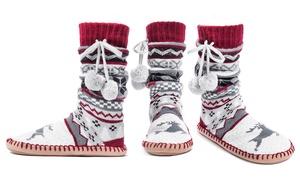Muk Luks Women's Tall Tassel Slipper Socks: Chianti (Size L/XL)