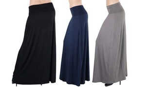 Women's Soft Rayon-Blend Relaxed Fit Maxi Skirt