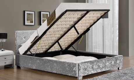 Fabric Ottoman Bed Frame with Optional Mattress With Free Delivery