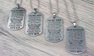 Tag Necklace from Mom/Dad to Son/Daughter by MAZE EXCLUSIVE