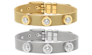Ladies' Stainless Steel Mesh Bracelet with Cubic Zirconia Charms