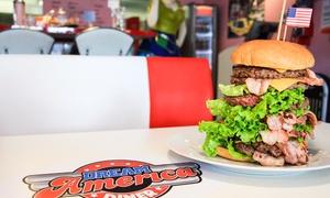 Dream America: Burger ou plat avec dessert ou milkshake au choix pour 2 ou 4 personnes dès 19,90 € au restaurant Dream America