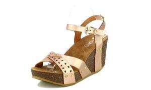 Women's Double-Strap Cork-Platform Cut-Out Wedge Sandals (Size 8.5)