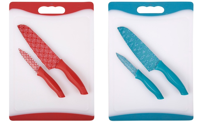 Core kitchen cutting board and knives set 3 piece groupon for Kitchen knife set of 7pcs with cutting board