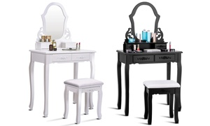 Makeup Dressing Table with Matching Stool