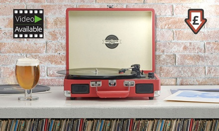 Briefcase Turntable USB-Enabled Record Player for £35 with Spare Stylus for £39 With Free Delivery (Up to 62% Off)