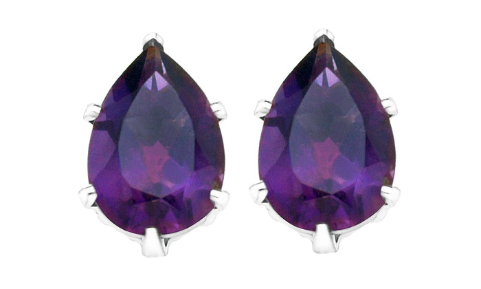 product pear shaped in white rubover gold earrings amethyst stud