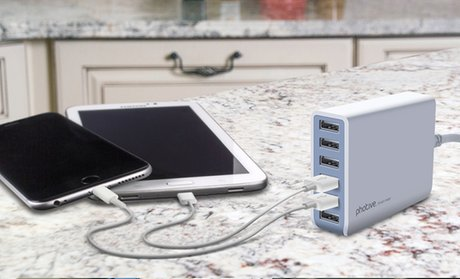 Photive 60-Watt 6-Port Rapid USB Desktop Charger with Auto Detect